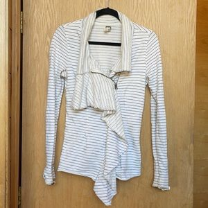 Free People Striped Zip Up Relaxed Sweater